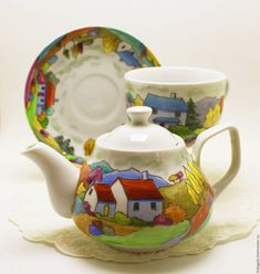 """Buy Painting porcelain. Tea egoist """"A trip to Provence"""" in an online store at the Masters Fair"""