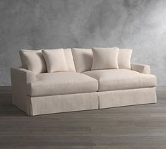Sullivan Fin Arm Deep Seat Slipcovered Sofa with Chaise Sectional Basement Remodel Diy, Basement Remodeling, Basement Ideas, Rustic Basement, Remodeling Ideas, Basement Pool, Bedroom Remodeling, Basement Designs, Basement Stairs