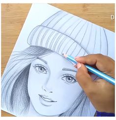 Pencil Sketches Of Girls, Girl Drawing Sketches, Girly Drawings, Art Drawings Sketches Simple, Girl Pencil Drawing, Simple Drawings For Beginners, Sketch Ideas For Beginners, Girl Drawing Images, Sketches Of Girls Faces