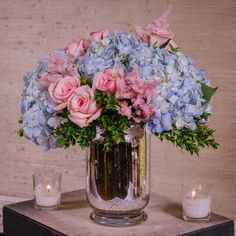 blue hydrangea, pink roses, astilbe