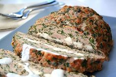 :I Feta-Stuffed Turkey Meatloaf with Tzatziki Sauce-low carb- different. Also don't add lots of lemon to hand tzatziki sauce! Lebanese Recipes, Greek Recipes, Paleo Recipes, Low Carb Recipes, Cooking Recipes, Skillet Recipes, Ketogenic Recipes, Easy Recipes, Turkey Recipes