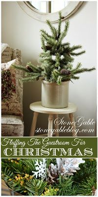 Creative  little Christmas touches to give your guestroom an ALL IS CALM, ALL IS BRIGHT feel!