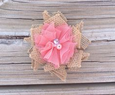 Tulle Flower Hair Clip-Burlap Shabby Flower Hair Clip-Coral Tulle Flower-Toddler Accessories on Etsy, $6.50