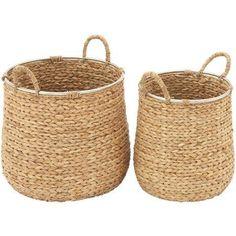 Decmode Seagrass Basket, Set of 2, Multi Color, Multicolor