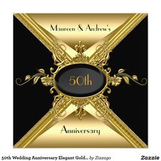 Shop Wedding Anniversary Elegant Gold Golden Invitation created by Zizzago. Personalize it with photos & text or purchase as is! 50th Wedding Anniversary Invitations, Art Deco Wedding Invitations, Golden Wedding Anniversary, 50th Anniversary, Anniversary Surprise, Invites, Golden Heart, Batman Wedding, Monkey Art