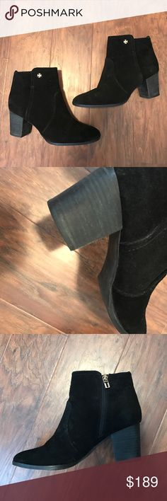 "Tory Burch suede booties Gorgeous booties by Tory Burch! In excellent condition. Perfect for winter! Heel is about 2"" so they are very comfortable for all day wear. Tory Burch Shoes Ankle Boots & Booties"