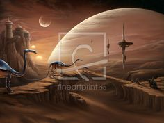 Tatooine - bei der Tuskenbrücke als Leinwand von OceanPlanet erhältlich bei Fine Art Print | star wars science fiction tatooine tusken bantas gimp krieg der sterne mond wüste roboter