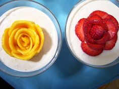 Vegan cheesecake panna cotta with fruit roses