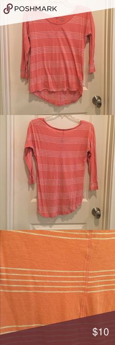 Coral 3/4 Length T-Shirt Coral 3/4 length shirt with white stripes. A bit longer in the back. Cotton material, very comfortable and great for all seasons! Size small but fits more like a medium. Old Navy Tops Tees - Long Sleeve