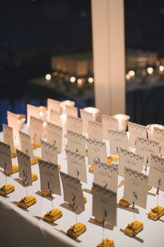 """Old New York"" Art Deco Themed Wedding; Escort Card design by 43DPI Creative and arranged by Lenox Hill Florist; Central Park Loeb Boathouse; Alexandra Meseke Photography"
