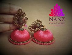 For reference only antique Silk Thread Earrings Designs, Silk Thread Bangles Design, Silk Thread Necklace, Silk Bangles, Thread Jewellery, Ribbon Jewelry, Fabric Jewelry, Silk Thread Jumkas, Jewelry Making Tutorials