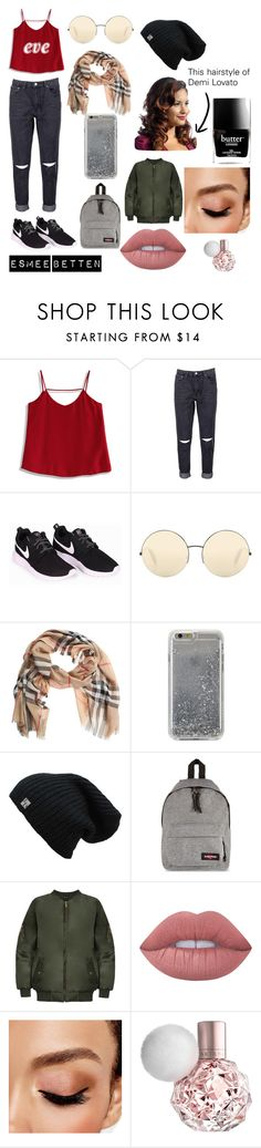 """""""Eve - My Personal Style"""" by esmeebetten on Polyvore featuring mode, Chicwish, Boohoo, NIKE, Victoria Beckham, Burberry, Agent 18, Eastpak, WearAll en Lime Crime"""