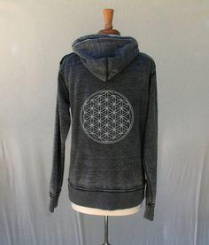 One-of-a-kind flower of Life Zip Up Men and Women Sacred Geometry Vintage Zen Fleece Hoodie