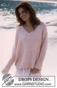 Free knitting patterns and crochet patterns by DROPS Design Jumper Knitting Pattern, Jumper Patterns, Easy Knitting, Knitting Patterns Free, Knit Patterns, Free Pattern, Pattern Print, Drops Design, Laine Drops