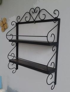 Prateleira Ferro E Madeira Trabalhado - R$ 139,90 Kitchen Organisation, Iron Furniture, Decor, Wrought Iron Candle, Grill Design, Wrought Iron Decor, Metal Art, Metal Furniture, Home Decor