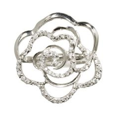 Large sterling silver cubic zirconia flower ring. A great gift idea for under $30