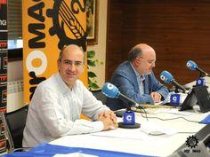 El presidente de la Feria de Salamanca, D. Javier Iglesias con D. César Lumbreras durante la emisión del programa Agropopular. Un imprescindible de la Feria.