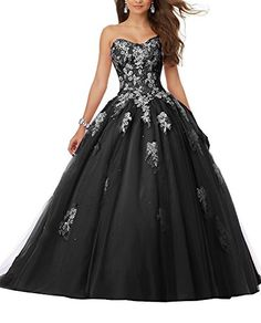 f3ab576f488 Angela Sweetheart Lace Bodice Beaded Prom Dresses 2018 Ball Gown  Quinceanera Dresses Tulle ANS001 at Amazon Women s Clothing store