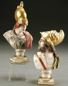 1150: PAIR CAPO-DI-MONTE STYLE PORCELAIN FIGURAL BUSTS