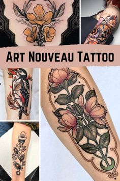 Bird And Flower Tattoo, Colorful Flower Tattoo, Flower Thigh Tattoos, Beautiful Flower Tattoos, Back Thigh Tattoo, Colorful Tattoos, Tatuaje Art Nouveau, Art Nouveau Tattoo, Et Tattoo