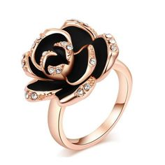 ROXI Black Rose Ring Female Rose Gold Plated Party Jewel