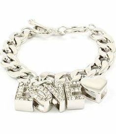 HOT HOT HOT!!! LOVE Iced Out BLING Silvertone Rhinestone & Crystal Toggle Bracelet w/Dangle Hearts by Jersey Bling: Jewelry: Amazon.com