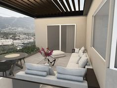 Oversized Mirror, Architecture Design, Patio, Furniture, Home Decor, Beams, Walls, Hangout Room, Balcony Design