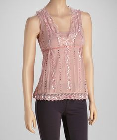 Take a look at this Pink Lace Sequin Top by Papillon Imports on #zulily today!