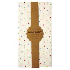 Papier Tischdecke mit bunten Punkten von Meri Meri