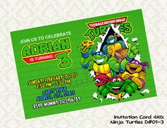 Teenage Mutant Ninja Turtles Birthday by KidsLabelKreations, $6.50