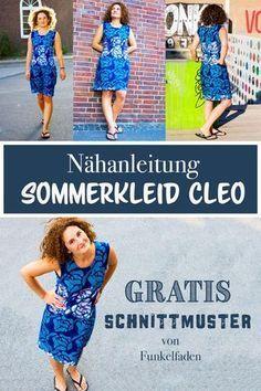 Nähanleitung und kostenfreies Schnittmuster für das Sommerkleid Cleo von Funkelfaden in Größe 34-46