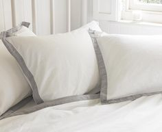 Crumple cotton bed linen with grey linen border detail Furniture, Cotton Bed Linen, Home, Linen Bedding, Comfy Sofa, Bed, Bed Pillows, Pillows, Beautiful Bedding