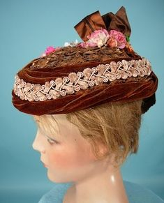 """. 1870's Dark Straw Toque Hat with Velvet and Chenille Trim!  The """"pork pie"""" shaped toque hat first became fashionable in the late 1860s, and then into the 1870's where they got slightly larger."""