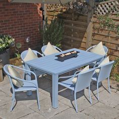 6 Seat Pastel Polywood Garden Furniture Set with Farmhouse table and stacking chairs Fantastic quality.
