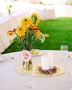 Fresh blooms picked from a local farm create down-home centerpieces