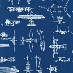 Patriots Plane Line Drawings on Blue by by Loriscountryfabrics, $8.95
