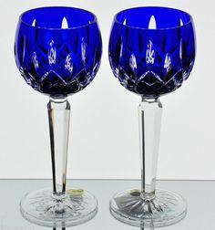 Waterford Lismore Prestige Cobalt Blue Cased Cut to Clear Wine Hock Goblets NIB