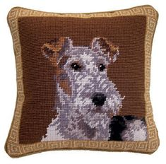 "Wire Fox Terrier Dog Portrait - 10"" Needlepoint Dog Pillow"