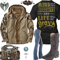 Mind Your Own Biscuits And Life Will Be Gravy Outfit - Real Country Ladies. Leave out the purse and the necklace here and we're good to go. Country Girl Outfits, Country Wear, Cute N Country, Country Girl Style, Country Fashion, Country Girls, Outdoorsy Fashion, Southern Fashion, Country Chic