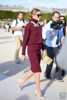 22. #Oxblood - 30 Times We #Wanted to Copy Olivia Palermo's Street #Style ... → #Celebs #Street