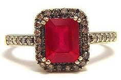 Vintage Le Vian Levian Red Ruby Chocolate Diamond 14k Solid Gold Statement Ring