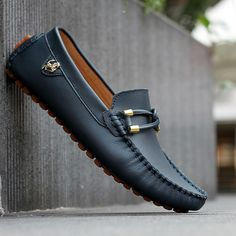 black genuine leather loafers mens fashion boat shoes fashion brown male sneakers casual solid mocassin for men
