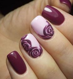 exeptional french nails ideas burgundy pink flower pattern #burgundynails #nails #artideas
