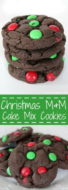 Christmas M&M Cake Mix Cookies - Super simple Christmas Cookie idea for the holidays.