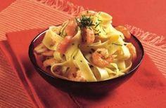 Fettuccini en salsa de langostinos
