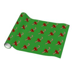 Candy Cane Christmas Green Wrapping Paper #CandyCane #Christmas #Green #WrappingPaper #candystick