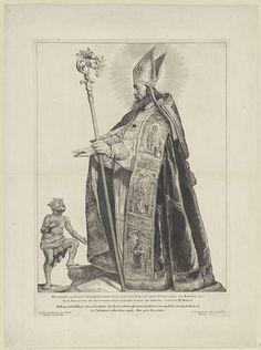 Cornelis Visscher (II) | H. Wolframus van Sens, Cornelis Visscher (II), Pieter Claesz. Soutman, unknown, 1650 | De heilige Wolframus van Sens als bisschop met mijter en krulstaf. Hij zegent een man met een kroon. Deze prent maakt deel uit van een reeks Nederlandse heiligen.