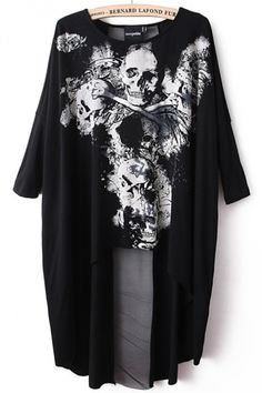 Black Ladies Unique Skull Printed High Low Loose T Shirt #fashion #sexy | #cute #tops #for #women #2014. pinkqueen.com