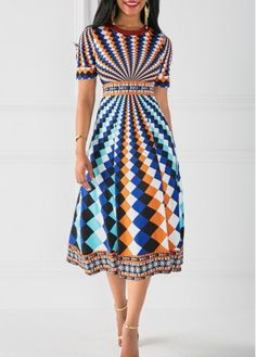 Multi-color geometric printed short sleeve fit and flare midi dress for sale, only $33, free shipping, shop now!