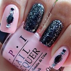 Pink & black nails, nail art ✿⊱╮